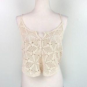 Button Up Crochet Knit Boho Festival Tank Top
